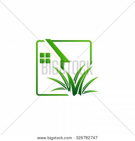 Gardening Landscaping Logo Design Vector Lawn And House Illustrations
