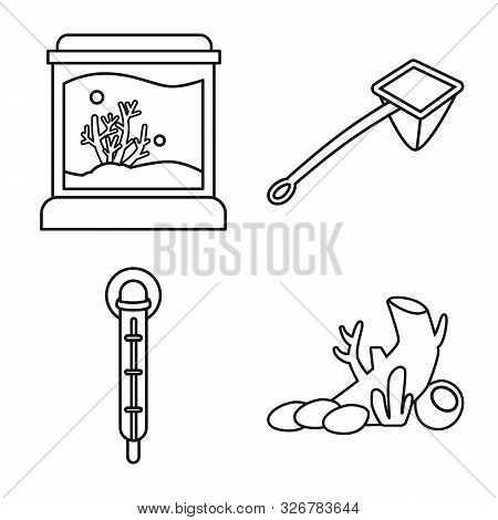 Vector Illustration Of Fishbowl And Accessory Icon. Collection Of Fishbowl And Care Stock Vector Ill