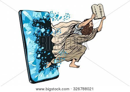 Moses the prophet with the tablets of commandments. Christian online news concept. Phone gadget smartphone. Online Internet application service program. Pop art retro vector illustration drawing vintage kitsch poster