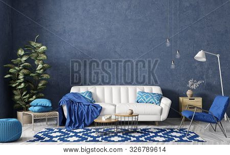 Modern Interior Design Of Living Room With White Sofa, Coffee Tables, Blue Armchair Against Stucco W