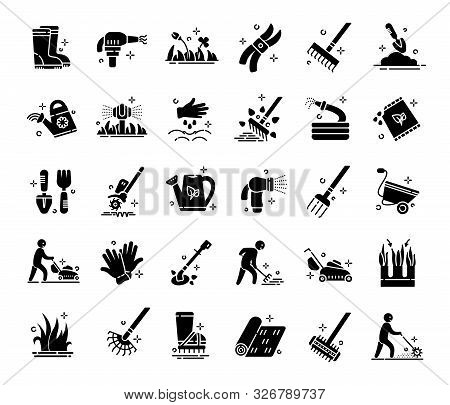 Lawn Care And Aeration - Glyph Icon Set, Lawn Grass Service, Gardening And Landscape Equipment, Isol