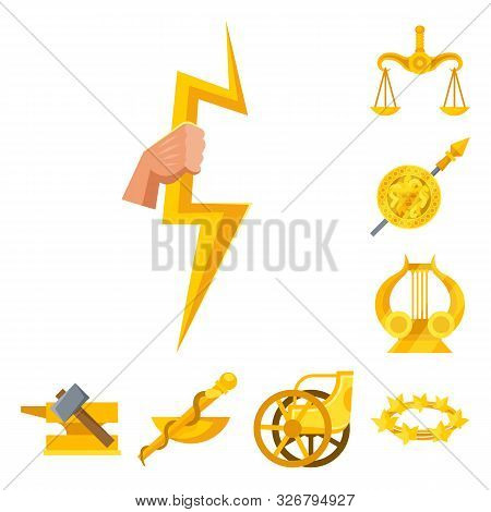 Vector Illustration Of Attributes And Greek Logo. Collection Of Attributes And God Vector Icon For S