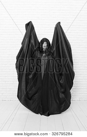 Look Its My Halloween Costume. Sensual Woman Dressed As Halloween Witch On White Brickwall. Sexy Gir
