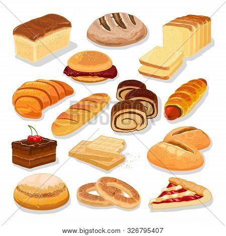 Assortment Of Bread And Flour Products, Pastries, Bakery Goods. Wheaten And Rye Loaves, Baguette, Bu