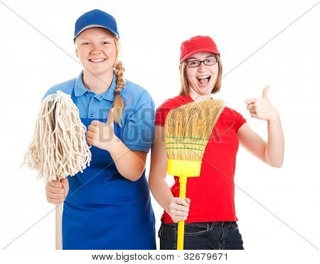 Enthusiastic teenage workers with their first jobs, giving thumbs up.  Isolated on white