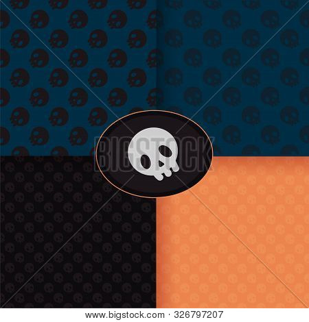 Set Of Patterns With Cute Skulls. For Halloween Cards, Wrapping Paper Print, Web Page Backdrop. On A