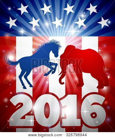 Mascot Animals Of American Democratic And Republican Parties, Blue Donkey And Red Elephant In Silhou