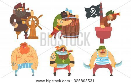 Funny Brave Sailors Pirates And Captain Set, Male Buccaneers Cartoon Characters Vector Illustration