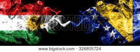 Kurdistan Vs Bosnia And Herzegovina, Bosnian Smoke Flags Placed Side By Side. Thick Colored Silky Sm