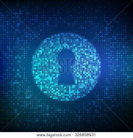 Digital Keyhole. Concept Of Cyber Security, Firewall, Network Security, Data Encryption. Digital Bin