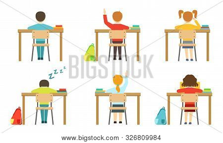 Schools Pupils Sitting At Desks At Classroom, View From Behind, Kids On Lesson, Schoolchildren Chara