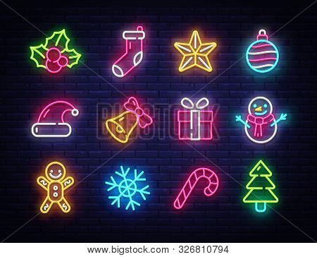 Christmas Neon Icons Set. Happy Christmas Collection Light Signs. Sign Boards, Light Banner. Xmas Ne