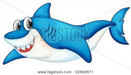 Illustration of a blue and white shark
