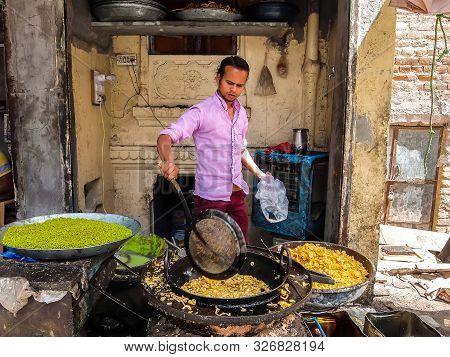 Bikaner, India - Circa March 2018. Snack Shop On The Street Of Bikaner.