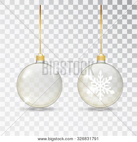 Christmas Transparent Glass Ball. Xmas Glass Bauble On Transparent Background. Holiday Decoration Te