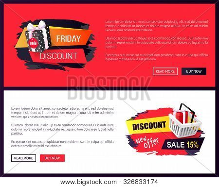 Black Friday Sale Off Promo Stickers, Advertising Coupons With Gift Boxes. Wholesale Price Tags Icon