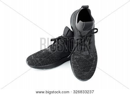 Sport Shoes Isolated On White Background. Black Sneakers Running Shoes. Casual Shoes. Youth Style. S