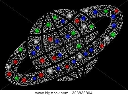 Bright Mesh Planetary Ring With Glare Effect. White Wire Frame Polygonal Network In Vector Format On