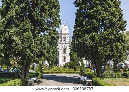 Lisbon, Portugal - August, 2019. Bell Tower Of The Jeronimos Monastery Or Hieronymites Monastery, A