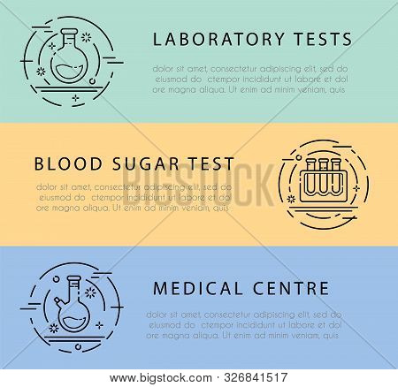 Banner Or Flayer For Medical Centre With Outline Icons - Laboratory Flask, Test Tube For Diagnosis,