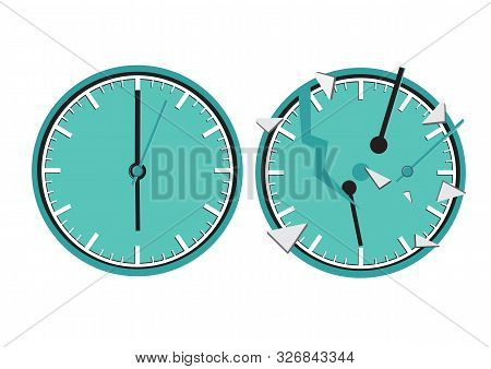 Two Clocks. One Of Them Broken. Concept Of Deadline, Lack Of Time, Carelessness Or Lost Time. Flat I