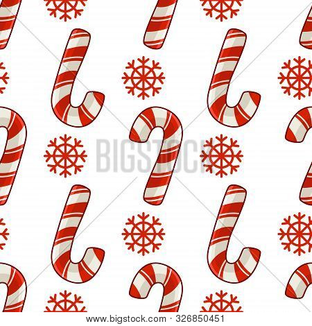 Christmas Seamless Pattern With Candy Cane Or Sweet Lollipop And Snowflakes, Red Colors, Endless Tex