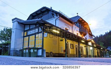 Bled, Slovenia - May 23, 2014: Building Of Small Local Railway Station Bled Jezero Near Lake Bled. B
