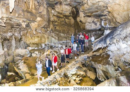 Sequoia - July 21, 2008: Tourists Are Guided Thru The Great Crystal Cave In Sequoia National Park, S
