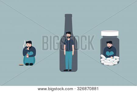 Bad Habits Set, Alcoholism, Pills Drug Addiction, Smoking, Vector Flat Cartoon Character Illustratio