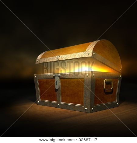 Old wooden treasure chest with strong glow from inside poster
