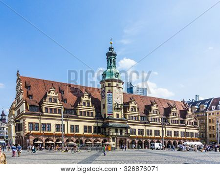 Leipzig, Germany - August 24, 2013: People At  Old Town Hall In Leipzig, Germany. Leipzig Is The Lar