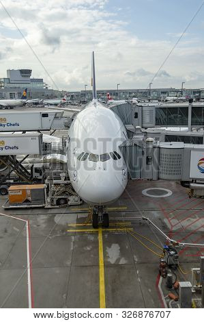 Frankfurt, Germany - Aug 16, 2014: The Lufthansa A380 At Frankfurt International Airport Is Ready Fo