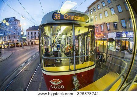 Vienna, Austria - Apr 25, 2015: Old Fashioned Tram By A Night Ride In Vienna, Austria. Vienna Has An