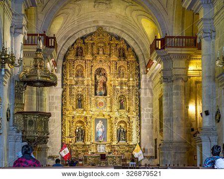 Arequipa, Peru - Oct 27, 2015: Inside Famous Yanahuara Church  In Arequipa, Peru. The Famous Church