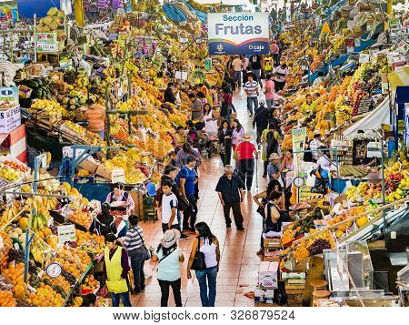 Arequipa, Peru - Oct 28, 2015: People Sell Goods At The Central Market In Arequipa, Peru. Central Ma