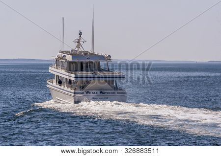 Fairhaven, Massachusetts, Usa - April 7, 2019: Whale Watcher Cruise Vessel Heading Back To Hyannis T