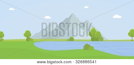 Beautiful Mountain Landscape Flat Vector Illustration. Empty National Park With No People, Picturesq