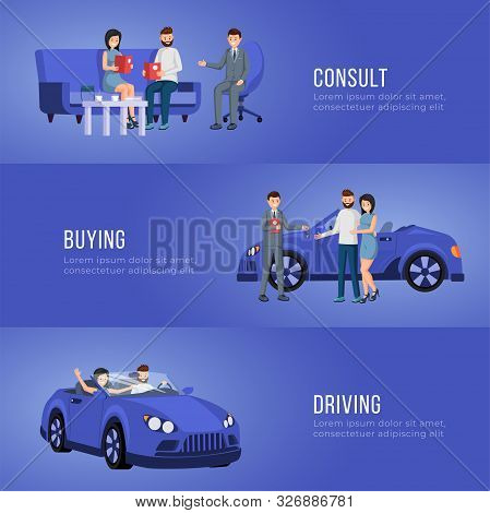 Automobile Showroom Advertising Banner Vector Template. Personal Vehicle, Transportation Dealership