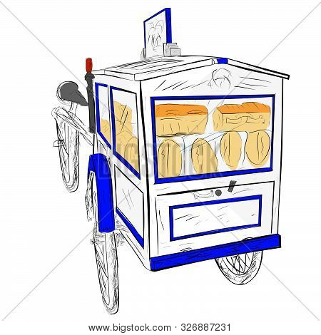 Vector Hand Draw Sketch Blue And White Of Wooden Classic Or Retro Bread Cart Seller.