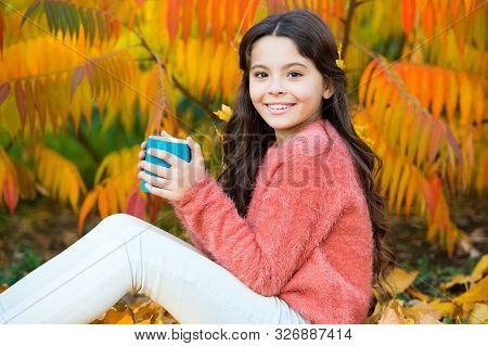 Caffeine Addicted. Little Child Hold Cup With Caffeine Energy Drink. Small Girl Recharge With Hot Ca
