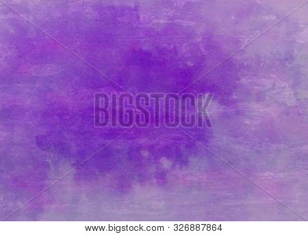 Purple Watercolor Paint Splash Background On Distressed Wood Texture, Old Stain Blotch With Faded So