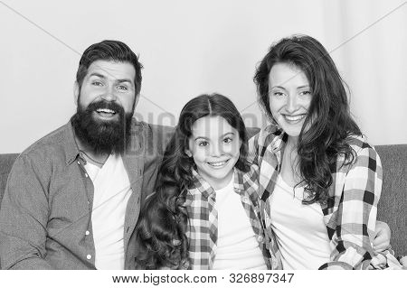 Family Spend Weekend Together. Friendly Family Sit Couch Posing For Photo Family Album. Mom Dad And