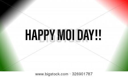 Nairobi, Kenya - October 6: Happy Moi Day Words On Background With Kenya Flag Colors Designed On Oct