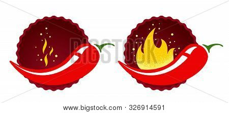 Mild Or Medium And Hot Chilli Pepper. Vector Emblems Jalapeno Or Chilli Peppers. Chili Pepper.