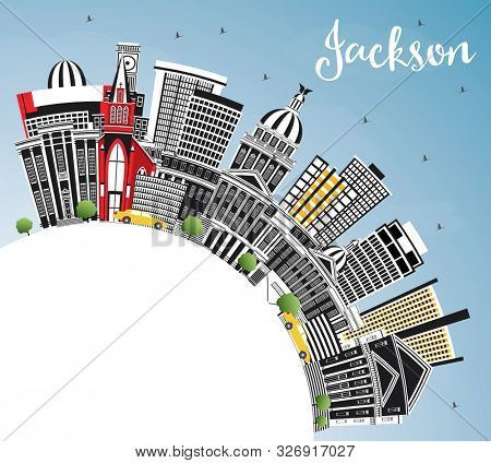 Jackson Mississippi City Skyline with Gray Buildings, Blue Sky and Copy Space. Travel and Tourism Concept with Historic Architecture. Jackson USA Cityscape with Landmarks.