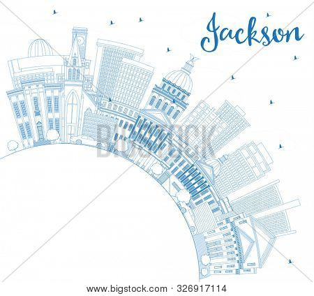 Outline Jackson Mississippi City Skyline with Blue Buildings and Copy Space. Tourism Concept with Historic Architecture. Jackson USA Cityscape with Landmarks.