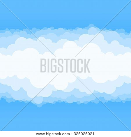 Clouds And Blue Sky Background. Vector Flat Air White Cloud Cartoon On Sky Horizon