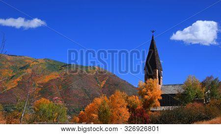 Historic Aspen chapel near Aspen city in Colorado