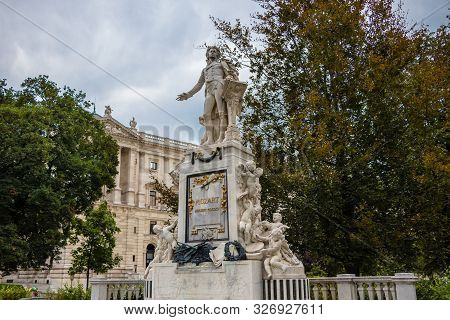 Monument In Memory Of Wolfgang Amadeus Mozart In Vienna, Austria