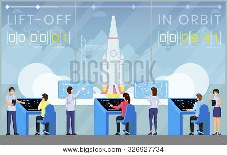 Spaceship Launch Countdown Flat Vector Illustration. Ground Control Center Workers, Scientists Team